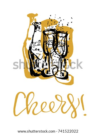 cheers toast hand drawn lettering with champagne glasses vector illustration for party invitations happy