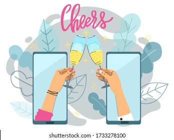 Cheers! Two hands holding glasses with sparkling wine or champagne clinking. On-line party, communication application, social media concept.