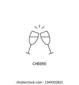 Cheers vector icon, outline style, editable stroke