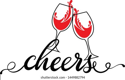 Cheers wine glasses decoration for T-shirt