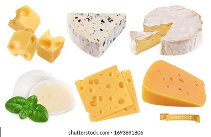 Cheese 3d realistic vector objects, food set illustration