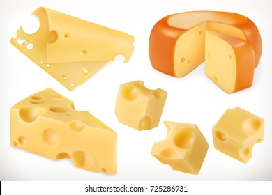 Cheese. 3d vector icon set