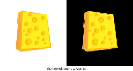 Cheese Block icon on black and white background. Vector set with natural diary product.