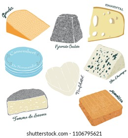 Cheese board with vector illustration
