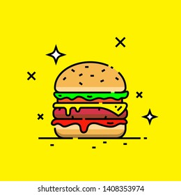 Cheese burger line icon. Fast food hamburger graphic. Vector illustration.