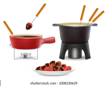 Cheese and chocolate fondue icon set. Vector realistic illustration of fondue pots fondue makers isolated on white background.