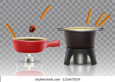 Cheese and chocolate fondue icon set. Vector realistic illustration of fondue pots fondue makers isolated on transparent background.