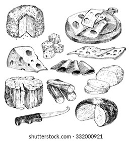 Cheese. Collection of hand drawn graphic illustrations.