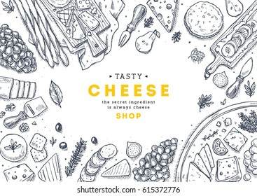 Cheese collection top view illustration. Antipasto table background. Engraved style illustration. Hero image. Vector illustration