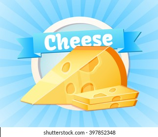 Cheese. Dairy products, healthy food, farm. Design of labels, logo. Vector illustration.