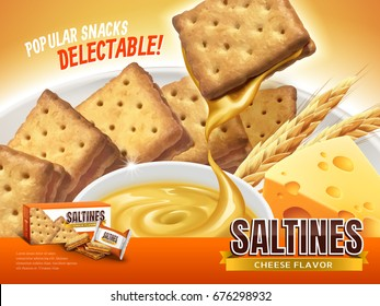 Cheese filling saltines ad, delectable crackers with cheese sauce dripped from it, closeup look of 3d illustration