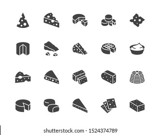 Cheese flat glyph icons set. Parmesan, mozzarella, yogurt, dutch, ricotta, butter, blue chees piece vector illustrations. Black signs for dairy product store. Silhouette pictogram pixel perfect.