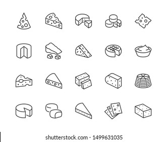 Cheese flat line icons set. Parmesan, mozzarella, yogurt, dutch, ricotta, butter, blue chees piece vector illustrations. Outline signs for dairy product store. Pixel perfect. Editable Strokes.