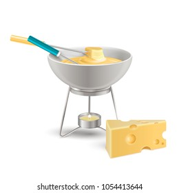 Cheese fondue in ceramic bowl on fire from candle realistic composition on white background vector illustration