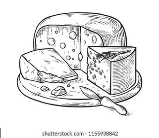 Cheese hand drawn set engraving. vector illustration.