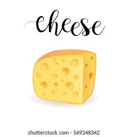 Cheese with holes realistic vector illustration
