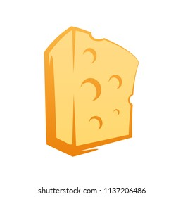 Cheese icon in cartoon style on white background. Vector clipart of swiss maasdam Cheese for decoration of Organic Natural Product.