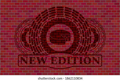 Cheese icon and New edition text red brick wall realistic badge. Tiles delicate background. Intense illustration.