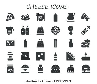 cheese icon set. 30 filled cheese icons.  Simple modern icons about  - Pizza, Bitterballen, Food, Sauce, Jug, Sandwich, Sauces, Grater, Fried chicken, Cannoli, Cheese, Churros