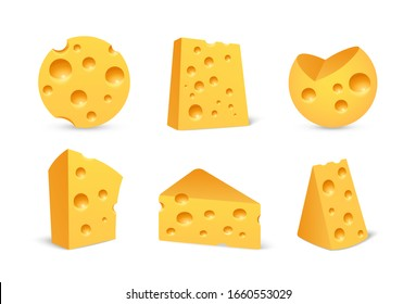 Cheese icon set in realistic style isolated on white