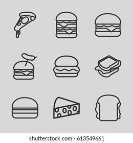 Cheese icons set. set of 9 cheese outline icons such as pizza, sandwich, burger with sausage, cheeseburger, double burger, burger