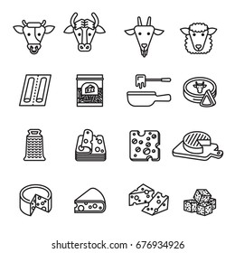 Cheese icons set. Line Style stock vector.