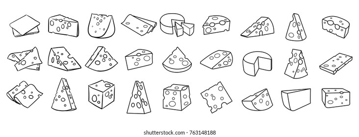 Cheese isolated on a white background, Hand drawn cheese outline vector illustration. Cheese sketch, doodle collection, Set of cheese icons