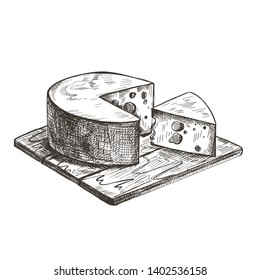 Cheese lies on a wooden cutting board. Vector retro illustration.