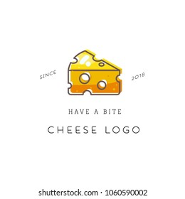 Cheese logo design concept in the flat style. Trendy vector logotype design with cheese. Vector illustration organic product, line work design. Minimalistic cheese logotype.