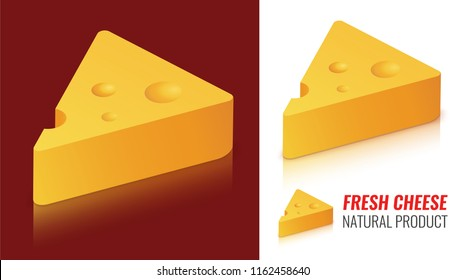 Cheese Logo Emblem on Dark and White background with Caption. Vector Logo Illustration of Swiss Maasdam Cheese Dairy Product in Isometric Beautiful Style.