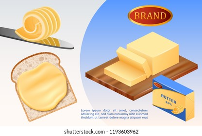 Cheese or margarine block concept background. Realistic illustration of cheese or margarine block vector concept background for web design