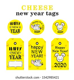 Cheese new year tags. Bright Christmas vector decor. Chesse Vector Illustration