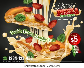 Cheese pepperoni pizza with stringy cheese and flying toppings isolated on grey background, 3d illustration