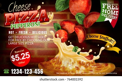 Cheese pepperoni pizza with stuffed cheese and flying toppings isolated on red brick wall and wooden table, 3d illustration