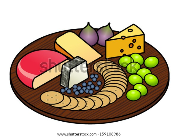 Cheese Platter Selection Cheeses Fruit Crackers Stock