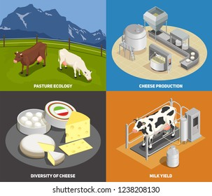 Cheese production 2x2 design concept set of pasture milk yield manufacturing diversity of cheese square icons isometric vector illustration