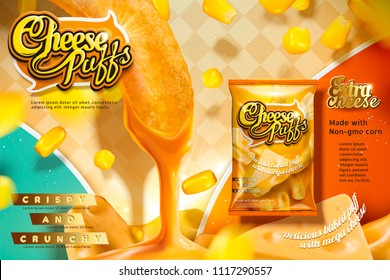 Cheese puffs ads with corn curls dipping delicious sauce, package design in 3d illustration