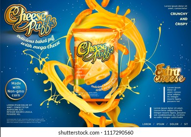 Cheese puffs package design with splashing ingredients in 3d illustration, blue background
