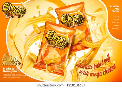 Cheese puffs package design with splashing ingredients in 3d illustration, orange tone