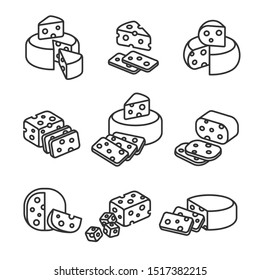 Cheese set. Collection icon cheese. Vector