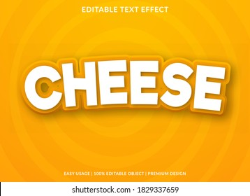 cheese text effect template with bold and 3d cartoon style use for business logo and brand