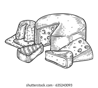 Cheese vector hand drawn set engraving illustration. Fat organic bio farm food set engraved collection. Black food isolated on white background.