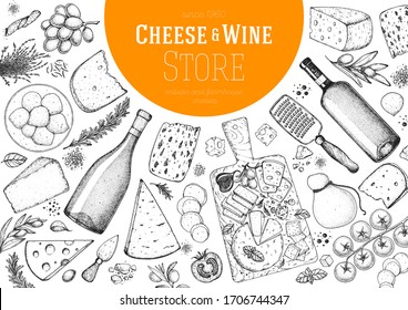 Cheese and wine design template. Hand drawn sketch. Retro food background. Menu restaurant. Gourmet food set. Vintage cheese, vegetables, spice, wine drawings. Dairy products frame on white background