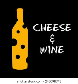 Cheese and wine, vector illustration