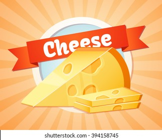 Cheese, yellow cheese illustration, label, menu design, a natural product, the farm. On an orange background, food.