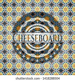Cheeseboard arabic style badge. Arabesque decoration.