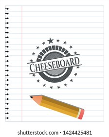 Cheeseboard emblem draw with pencil effect. Vector Illustration. Detailed.