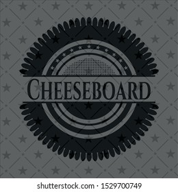 Cheeseboard realistic dark emblem. Vector Illustration. Detailed.