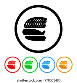 Cheeseburger with Bites Eaten Icon in Four Color Variations Vector