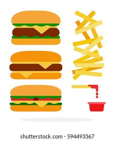 Cheeseburger, burger with beef, veggie burger and french fries with ketchup vector flat material design isolated on white